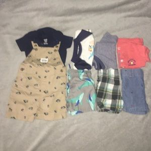12M Boys Summer Clothes, 8 pc lot; swim, outfits